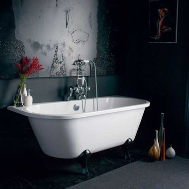 Burlington Avantgarde Back to Wall Roll Top Bath with Luxury Feet - 1700 x 750mm