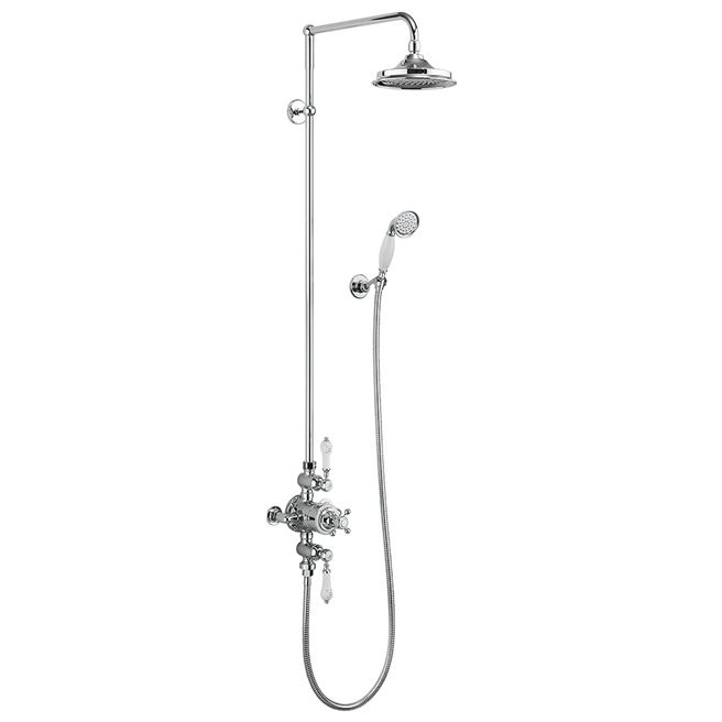Burlington Avon Exposed Thermostatic Shower Kit with AirBurst Shower Head and Ceramic Handle Handset