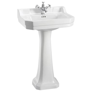 Burlington Edwardian 56cm Rectangular Basin with Pedestal