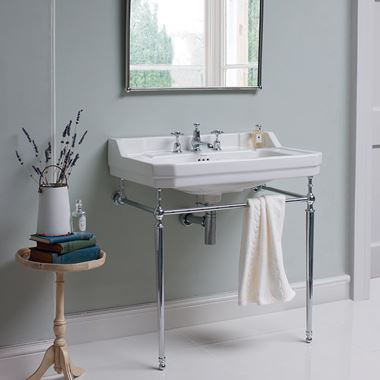 Burlington Edwardian 80cm Basin & Chrome Basin Stand