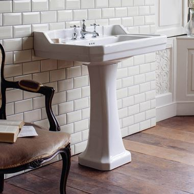 Burlington Edwardian 80cm Rectangular Basin with Pedestal