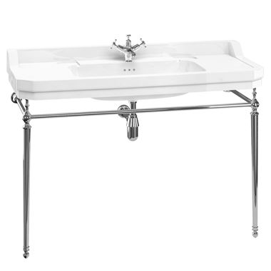 Burlington Edwardian Basin with Regal Height Chrome Washstand - 1210mm - 2 Tap Holes