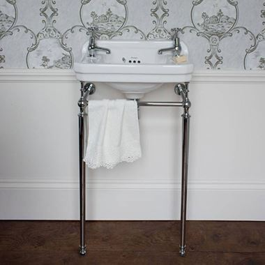 Burlington Edwardian Cloakroom Basin with Chrome Basin Stand