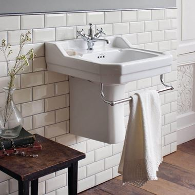 Burlington Edwardian 61cm Rectangular Basin with Semi-Pedestal