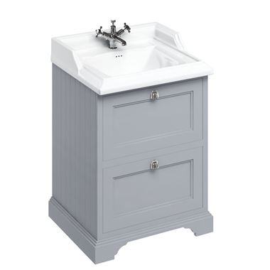 Burlington Freestanding 65 Vanity Unit with Drawers with Classic Basin - 654mm - 1 Tap Hole - Classic Grey