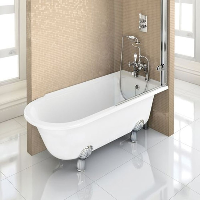 Burlington Hampton Roll Top Shower Bath with Luxury Feet - 1500 & 1700 x 750mm