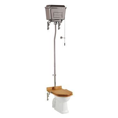 Burlington High Level Toilet with Chrome Cistern & Throne Seat - 670mm Projection
