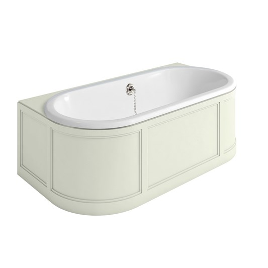 Burlington London Back to Wall Bath with Curved Surround, Overflow and Waste - 1800 x 950mm