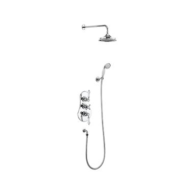 Burlington Severn Concealed Thermostatic Shower Kit, AirBurst Shower Head & Shower Handset