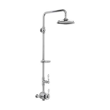 Burlington Stour Exposed Thermostatic Shower Kit with AirBurst Shower Head and Rigid Riser