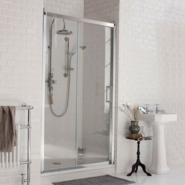 Burlington Traditional Sliding Soft Close Shower Door & Optional Side Panel