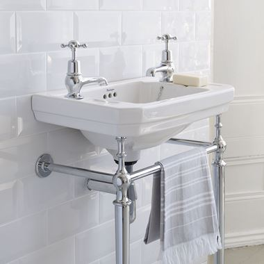 Burlington Victorian 56cm Basin with Chrome Basin Stand