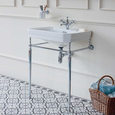 Burlington Victorian 61cm Basin with Chrome Basin Stand