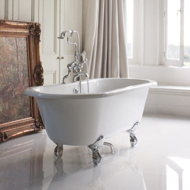 Burlington Windsor Roll Top Bath with Luxury Feet - 1500 x 635mm & 1690 x 620mm