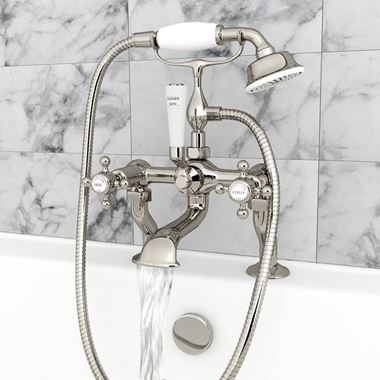 Butler & Rose Caledonia Cross Bath And Shower Mixer Tap With Shower Kit - Nickel