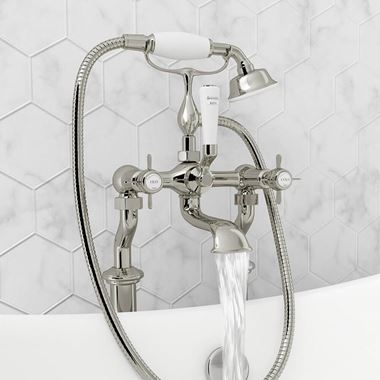 Butler & Rose Caledonia Pinch Bath And Shower Mixer Tap With Shower Kit - Nickel