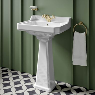 Butler & Rose Catherine 600mm Full Pedestal & Basin - 1 Tap Hole