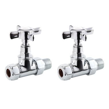 Butler & Rose Straight Traditional Radiator Valves - Chrome