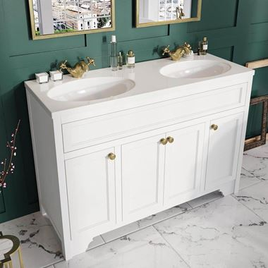 Butler & Rose Beatrice 1200mm Floorstanding Double Basin Vanity Unit - Arctic White