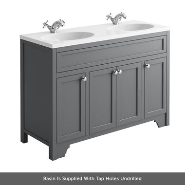 Butler & Rose Beatrice 1200mm Floorstanding Double Basin Vanity Unit - Spa Grey