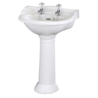 Butler & Rose Benedict 500mm Full Pedestal & Basin - 2 Tap Hole