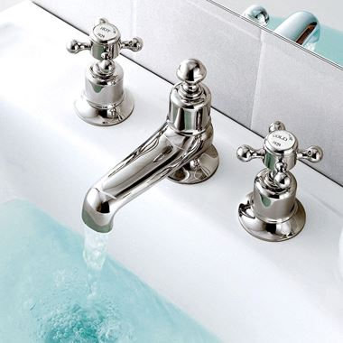 Butler & Rose Caledonia Cross 3 Hole Deck Mounted Basin Mixer Tap - Nickel