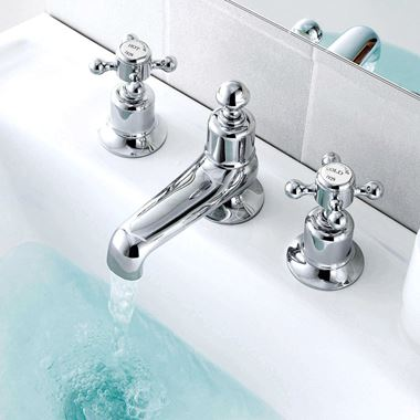 Butler & Rose Caledonia Cross 3 Hole Deck Mounted Basin Mixer Tap