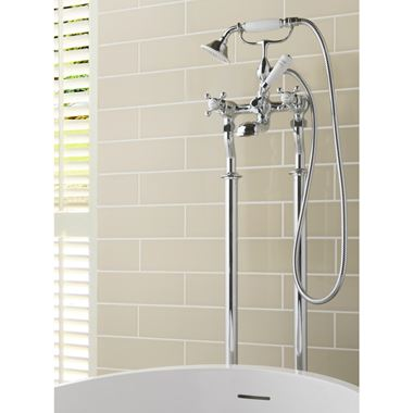 Butler & Rose Caledonia Cross Floor Standing Bath And Shower Mixer Tap With Shower Kit - Nickel