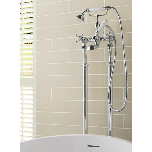 Butler & Rose Caledonia Cross Floor Standing Bath And Shower Mixer Tap With Shower Kit