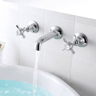 Butler & Rose Caledonia Pinch 3 Hole Wall Mounted Basin Mixer Tap