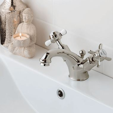 Butler & Rose Caledonia Pinch Basin Mixer Tap With Pop-Up Waste - Nickel