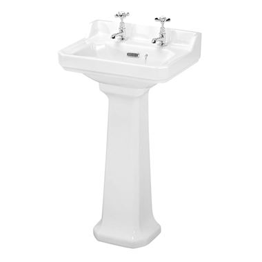 Butler & Rose Catherine 500mm Full Pedestal & Basin - 2 Tap Hole