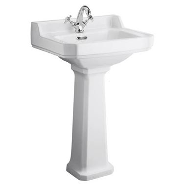 Butler & Rose Catherine 560mm Full Pedestal & Basin - 1 Tap Hole