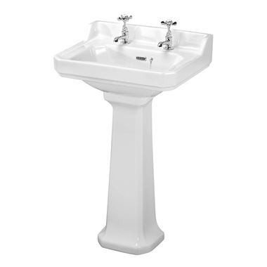 Butler & Rose Catherine 560mm Full Pedestal & Basin - 2 Tap Hole