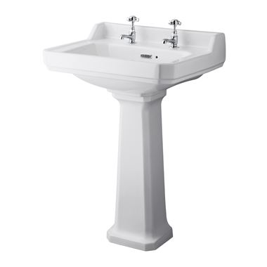 Butler & Rose Catherine 600mm Full Pedestal & Basin - 2 Tap Hole