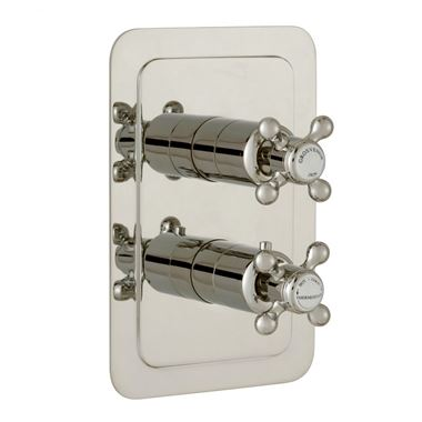 Butler & Rose Caledonia Cross Vertical Concealed 1 Outlet Shower Valve - Nickel