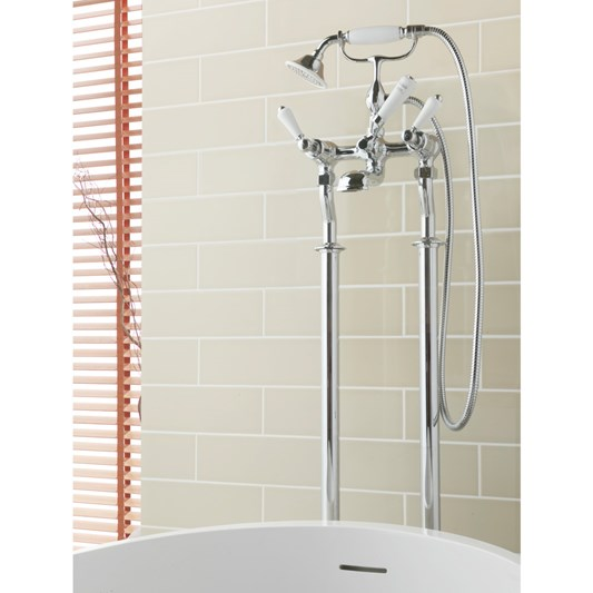 Butler & Rose Caledonia Lever Floor Standing Bath And Shower Mixer Tap With Shower Kit