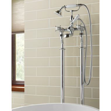 Butler & Rose Caledonia Pinch Floor Standing Bath And Shower Mixer Tap With Shower Kit