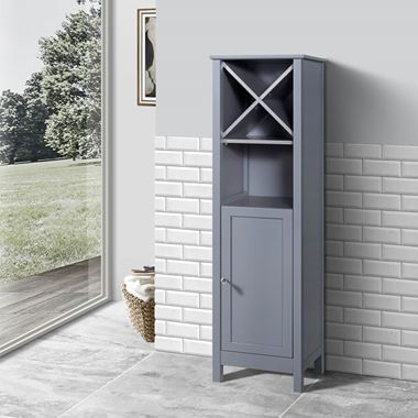 Butler & Rose Catherine Tall Floorstanding Storage Unit with Towel Rack - Matt Grey