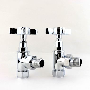 Butler & Rose Angled Traditional Radiator Valves - Chrome