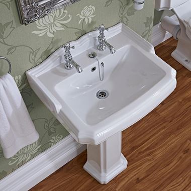 Butler & Rose Winston 580mm Full Pedestal & Basin - 2 Tap Hole