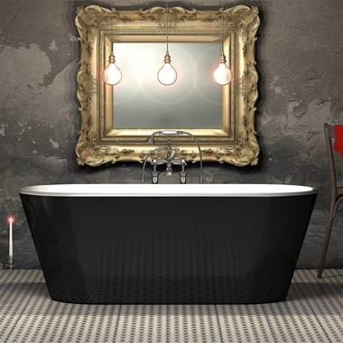 Charlotte Edwards Grosvenor Black Free Standing Bath - 1650 x 735mm