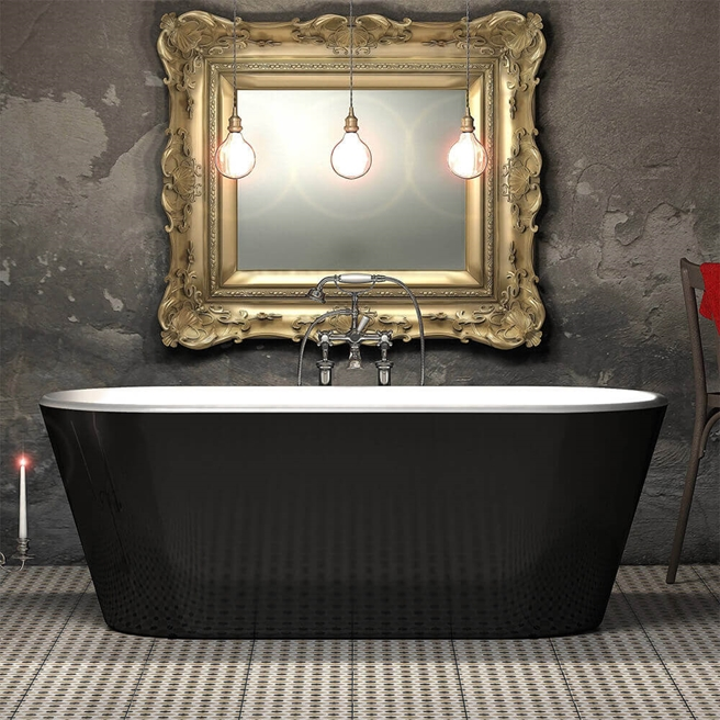 Charlotte Edwards Grosvenor Black Freestanding Bath - 1650 x 735mm