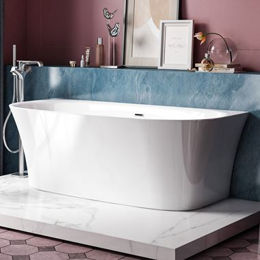 Charlotte Edwards Carme White Back to Wall Bath - 1700 x 800mm