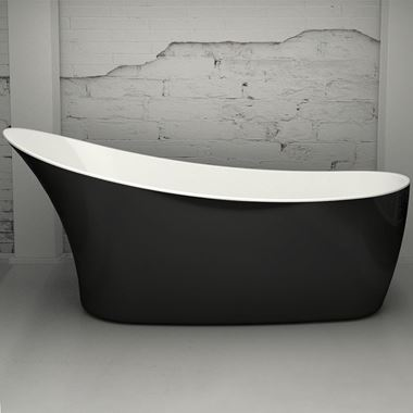 Charlotte Edwards Portobello Black Freestanding Bath - 1590 x 680mm