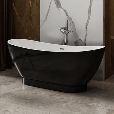 Charlotte Edwards Richmond Black Freestanding Bath - 1760 x 680mm