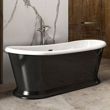 Charlotte Edwards Rosemary Black Freestanding Bath - 1710 x 720mm