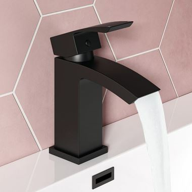 Vellamo City Matt Black Basin Mixer Tap & Clicker Waste