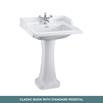 Burlington Classic Rectangular Pedestal Basin & Invisible Overflow