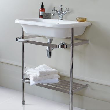 Clearwater Natural Stone 550mm Roll Top Basin with Stainless Steel Wash Stand